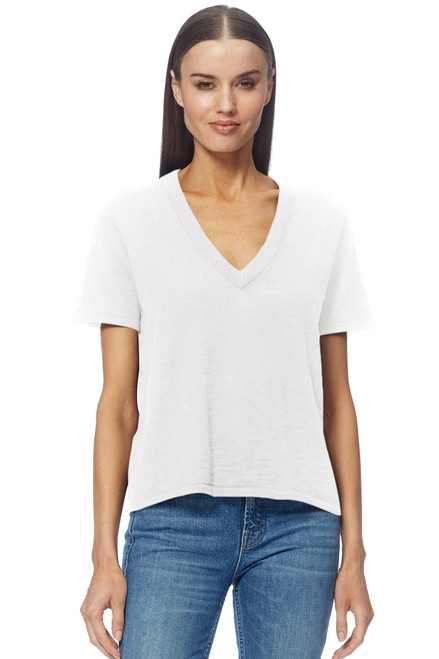 Michele  V Neck T Shirt by 360CASHMERE-45806-Optic White-Front View
