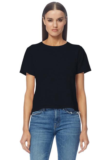 Susanna Short Sleeve Crew Neck Cashmere T by 360CASHMERE-45804-Black- Front View