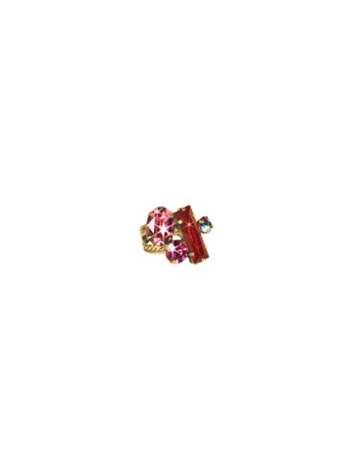 Sorrelli Pink Orchid- Abstract Cluster Ring~ RCF54AGPOR