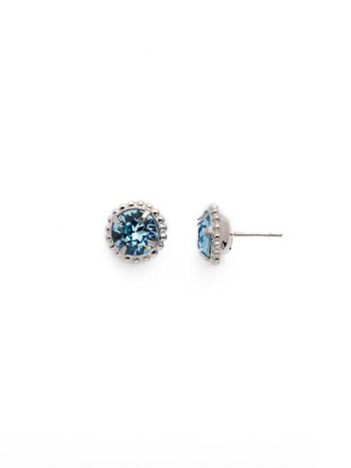 Sorrelli Essentials AQUAMARINE- Simplicity Crystal Stud Earrings~ EBY38RHAQU