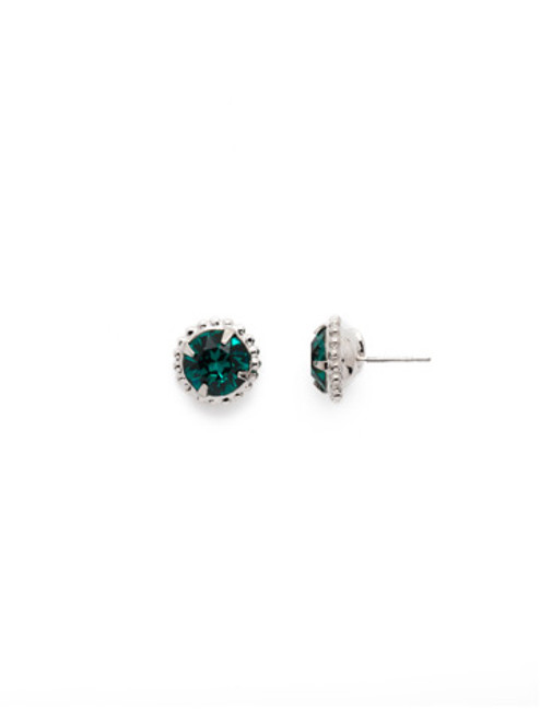 Sorrelli Essentials EMERALD- Simplicity Crystal Stud Earrings~ EBY38RHEME