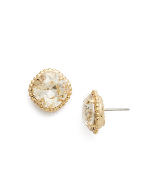 Sorrelli CRYSTAL CHAMPAGNE- Cushion Cut Solitaire Stud Earrings~ EBX10BGCCH