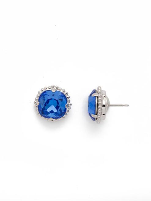 Sorrelli SAPPHIRE- Cushion Cut Solitaire Stud Earrings~ EBX10RHSAP