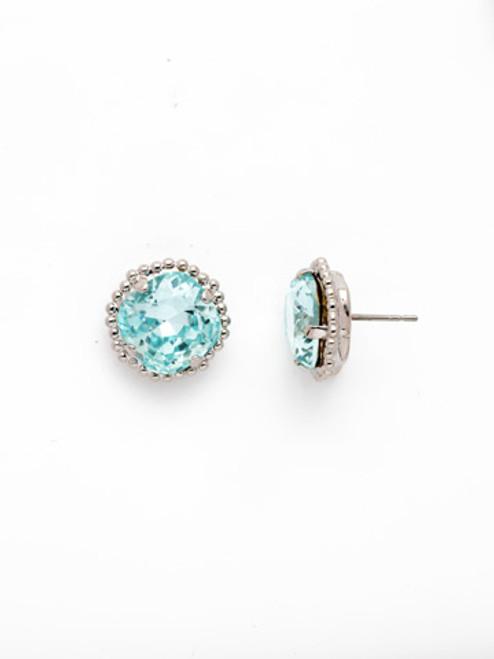 Sorrelli AQUAMARINE- Cushion Cut Solitaire Stud Earrings~ EBX10RHAQU