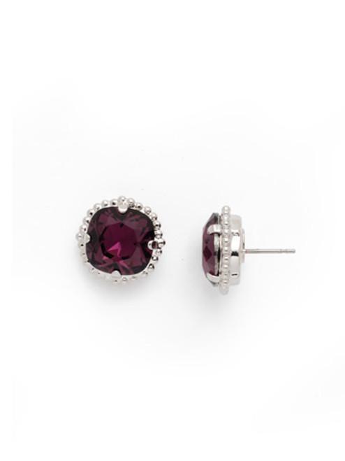 Sorrelli AMETHYST- Cushion Cut Solitaire Stud Earrings~ EBX10RHAM