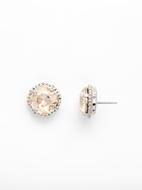 Sorrelli CRYSTAL CHAMPAGNE- Cushion Cut Solitaire Stud Earrings~ EBX10RHCCH