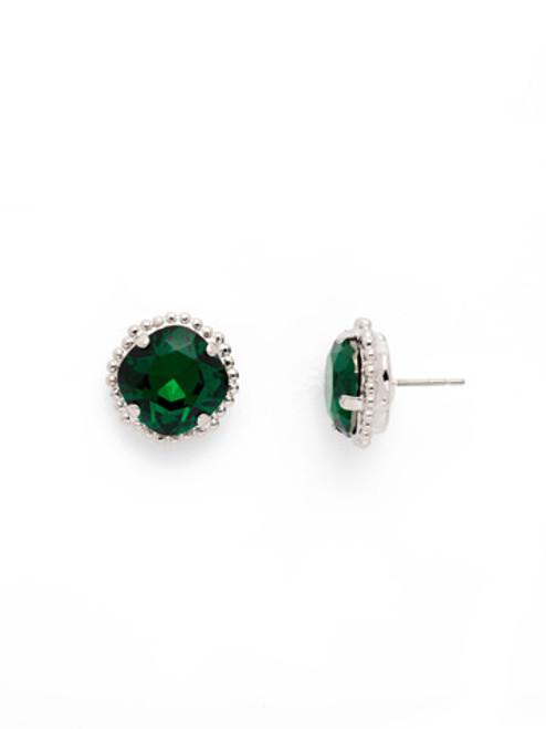Sorrelli EMERALD- Cushion Cut Solitaire Stud Earrings~ EBX10RHEME