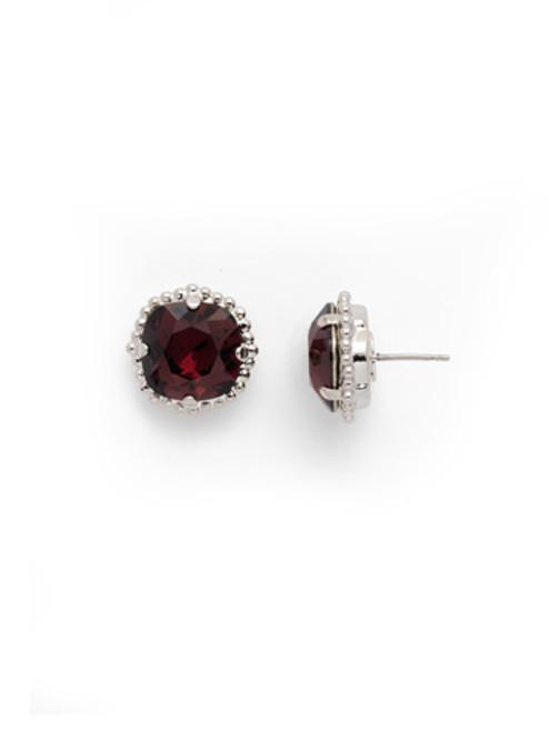 Sorrelli BURGUNDY- Cushion Cut Solitaire Stud Earrings~ EBX10RHBUR