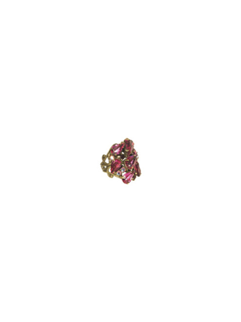 Sorrelli Pink Orchid-Large Teardrop Crystal Cocktail Ring~ RCP3AGPOR