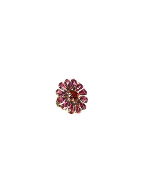Sorrelli Pink Orchid- Botanical Bliss Crystal Ring~ RCP29AGPOR