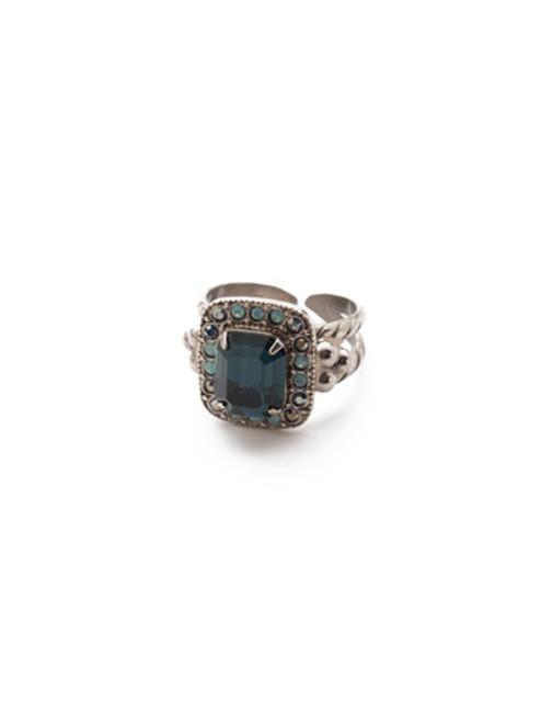 Sorrelli- NIGHT FROST- Opulent Octagon Cocktail Ring~ RDQ41ASNFT