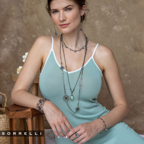 Sorrelli NIGHT FROST- Everly Long Necklace~ NES6ASNFT - Layered with NEU3ASNFT