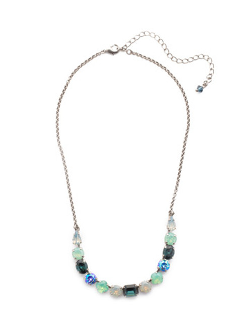 Sorrelli NIGHT FROST- Tansy Half Line Tennis Necklace~ NDQ14ASNFT