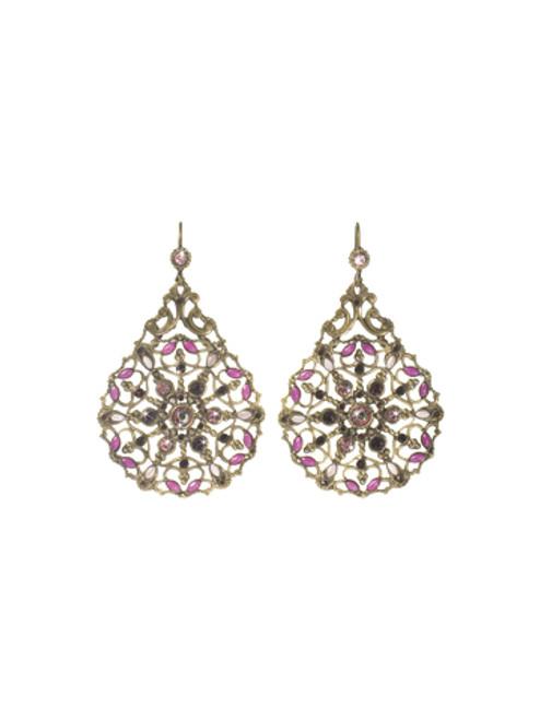 Sorrelli Pink Orchid- Dream Catcher Earrings~ EBX25AGPOR
