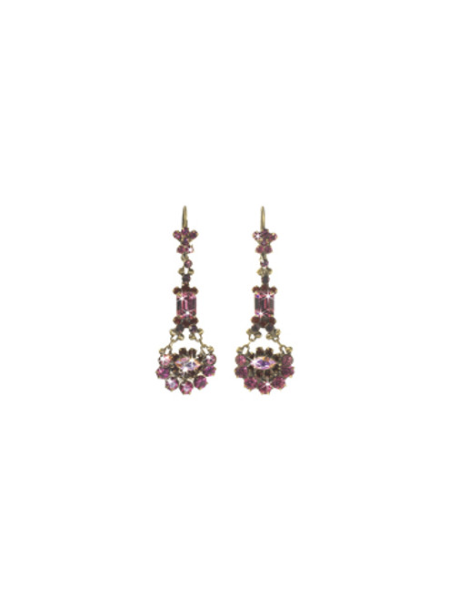 Sorrelli Pink Orchid- Crystal French Wire Dangle Earrings~ EBT10AGPOR