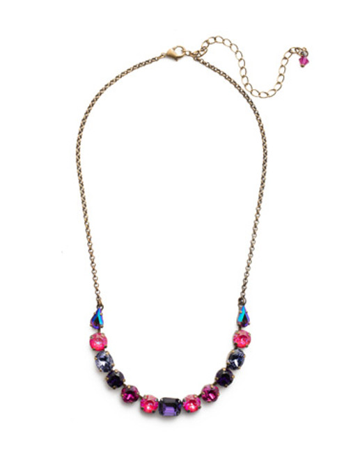 Sorrelli DUCHESS - Tansy Half Line Tennis Necklace~ NDQ14AGDCS