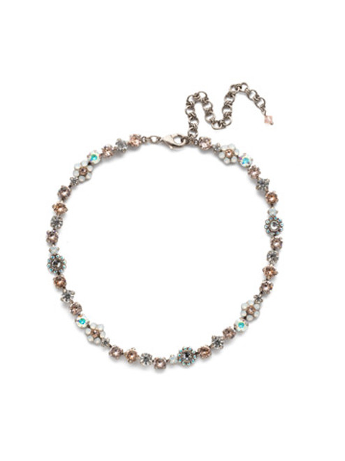 Sorrelli SILKY CLOUDS - Classic Floral Tennis Necklace~ NBE2ASSCL