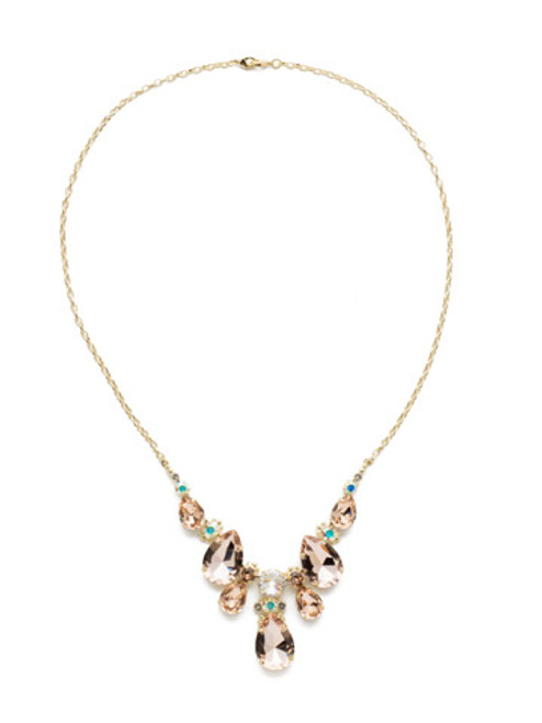 Sorrelli SILKY CLOUDS- Teardrop Triangle Bib Necklace~ NCR77BGSCL