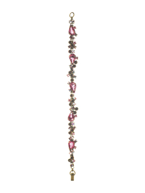 Sorrelli Pink Orchid- Classically Clustered Crystal Bracelet~ BCP7AGPOR