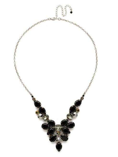 Sorrelli Black Onyx Chambray Crystal Statement Necklace-NDE59ASBON
