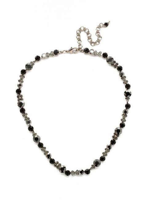Sorrelli Black Onyx In Bloom Crystal Line Necklace-NDK10ASBON