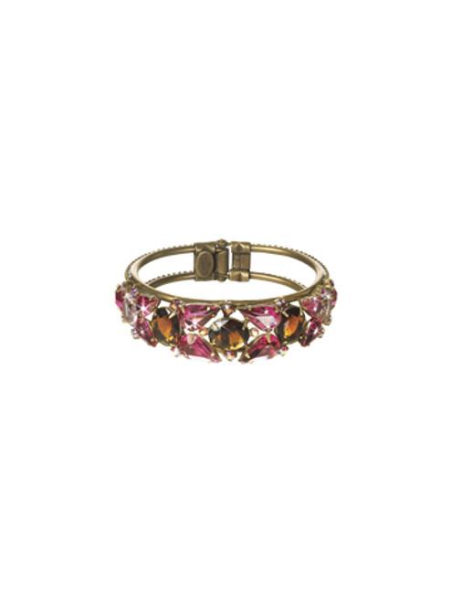 Sorrelli Pink Orchid- Crystal Cluster Hinge Cuff Bracelet~ BCP5AGPOR