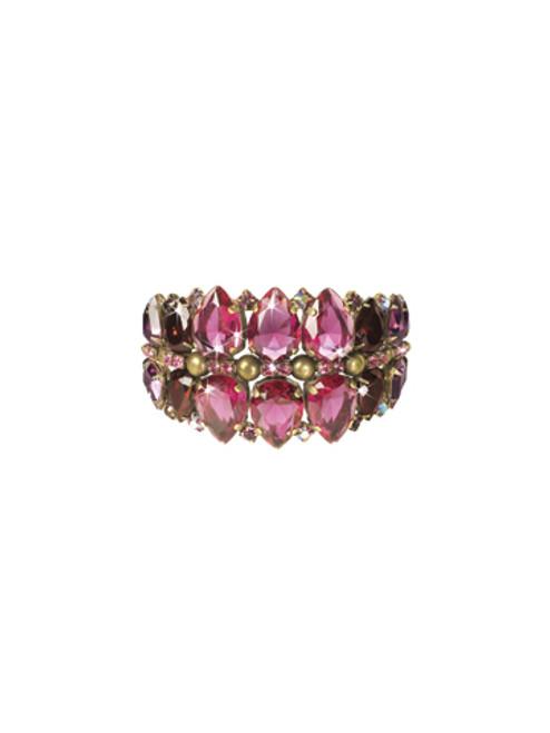 Sorrelli Pink Orchid-Teardrop Lined Statement Cuff Bracelet~ BCP2AGPOR