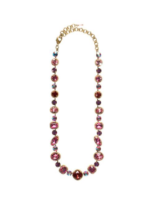 Sorrelli Pink Orchid- Lavish Life Tennis Necklace~ NCP37AGPOR