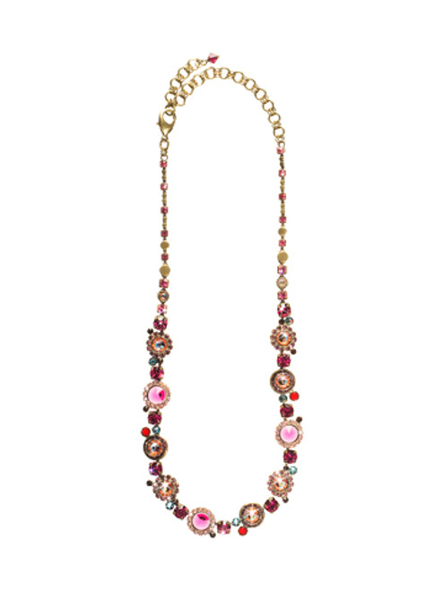 Sorrelli Pink Orchid- Break Out the Bubbly Crystal Line Necklace~ NCE12AGPOR