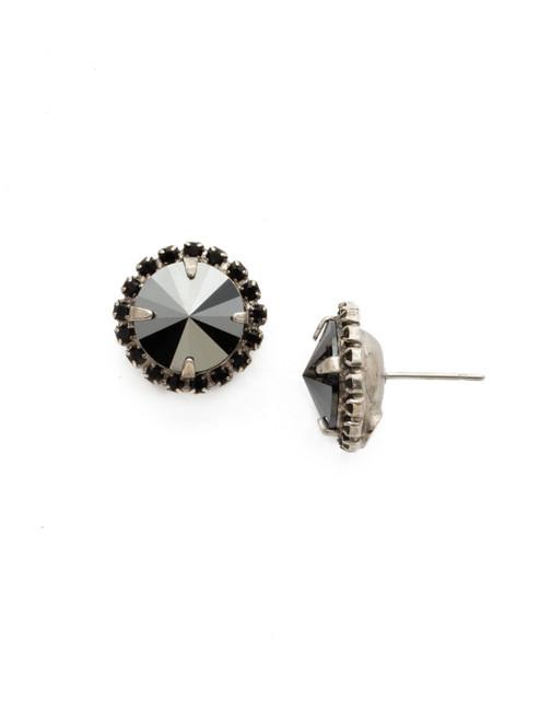 Sorrelli BLACK ONYX- Haute Halo Stud Earrings~ ECX98ASBON