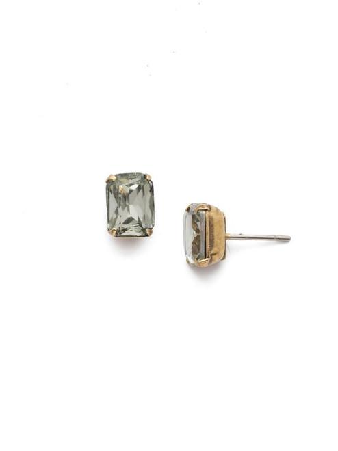 Sorrelli Black Diamond - Mini Emerald Cut Stud Earrings~ EBY42AGBD