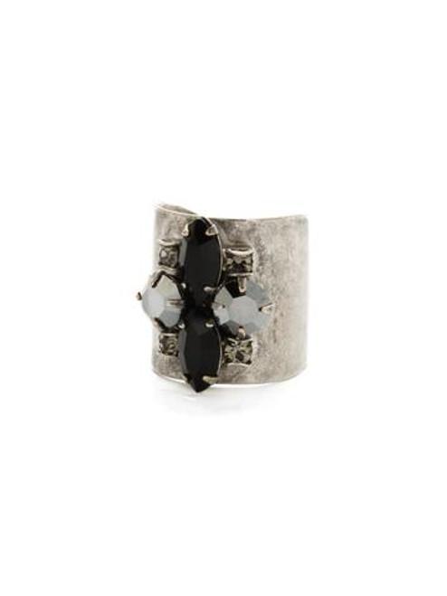 Sorrelli Black Onyx- Flower Navette Cuff Ring ~ RCW49ASBON