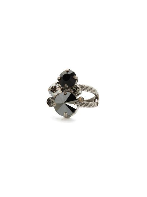 Sorrelli Black Onyx- Crystal Assorted Rounds Ring ~ RDB11ASBON