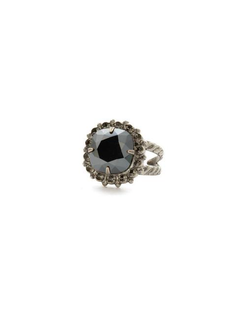 Sorrelli Black Onyx- Crystal Cushion-Cut Ring ~ RCR112ASBON