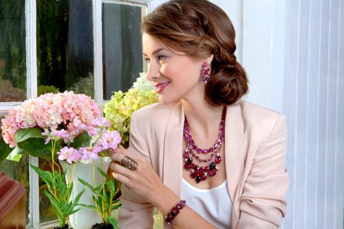 Sorrelli Pink Orchid- Sparkle Squared Necklace~ NCM10AGPOR
