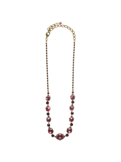 Sorrelli Pink Orchid- Crystal Strand Necklace~ NCG3AGPOR