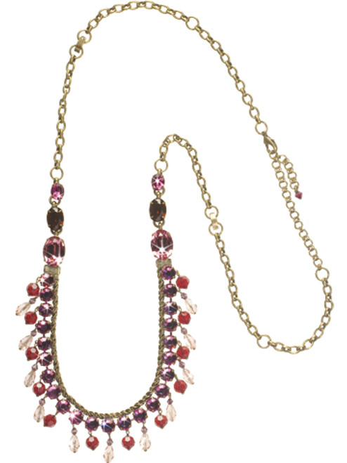 Sorrelli Pink Orchid- Never Too Much Shine Necklace~ NCM3AGPOR