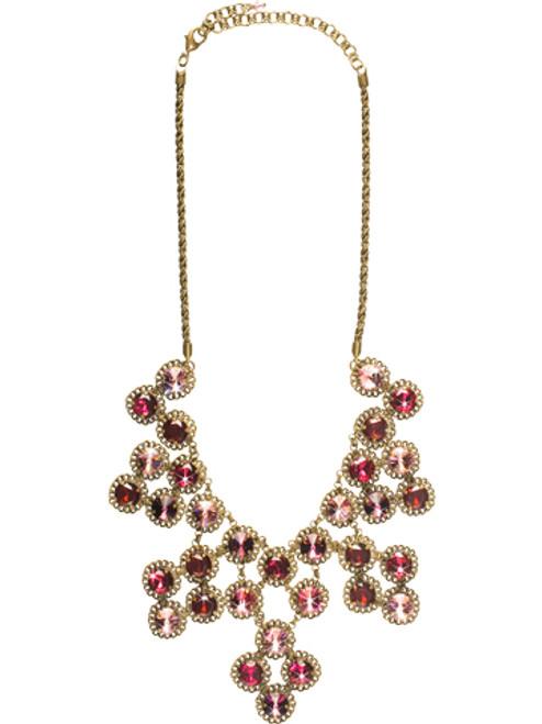 Sorrelli Pink Orchid- Constellation Bib Necklace~ NCN2AGPOR