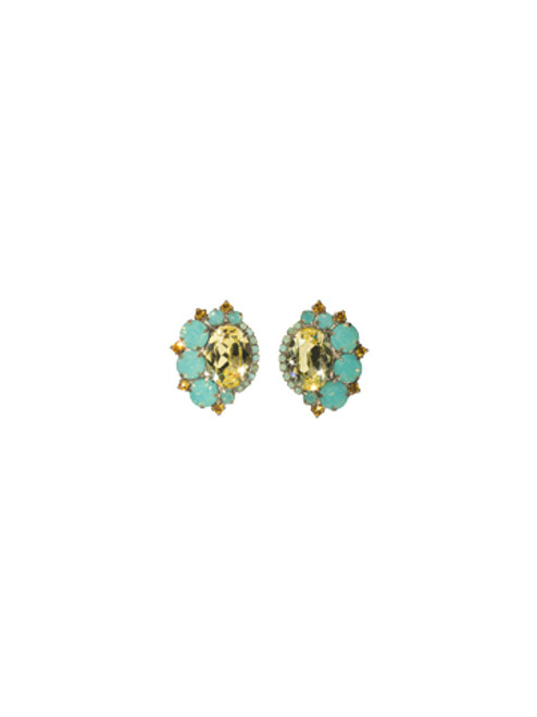 Sorrelli ATLANTIS- Bold Asymmetric Crystal Earrings with Oval Center~ EBZ22ASAT