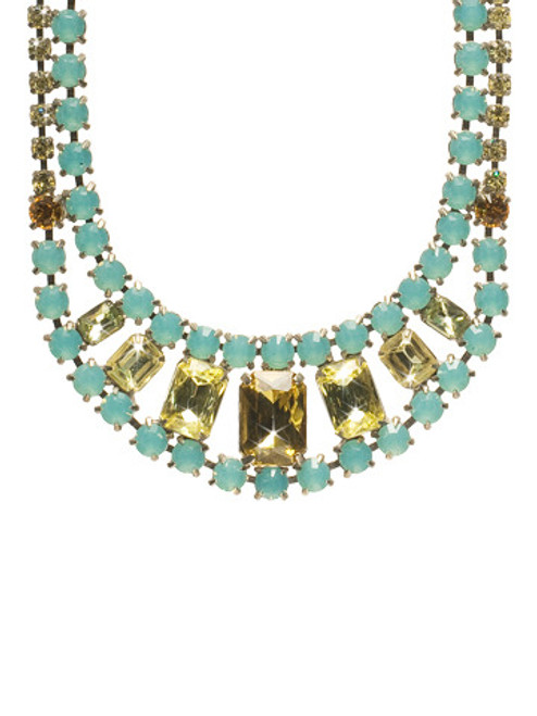 Sorrelli ALANTIS- Crystal Double Row Octagon Statement Necklace~ NBZ30ASAT