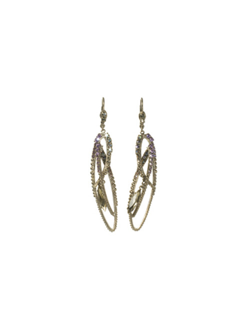 SORRELLI- RHAPSODY CRYSTAL FEATHER LONG EARRINGS- ECK30ASRHP