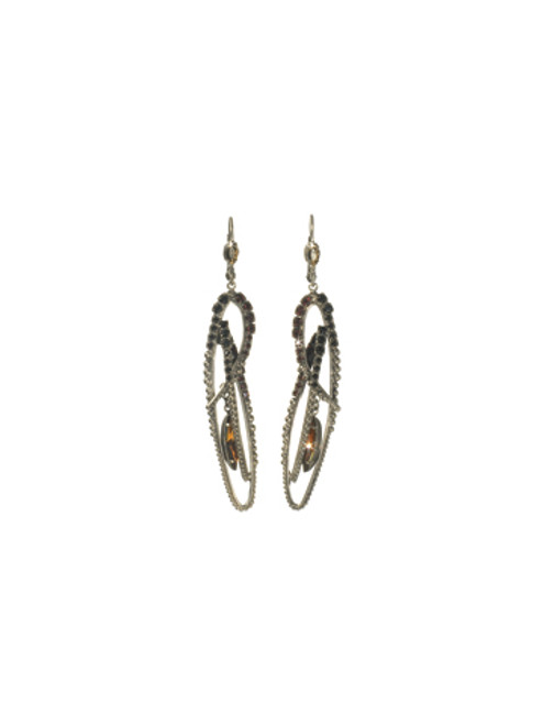Sorrelli AFTER MIDNIGHT- Crystal Feather Long Earrings~ ECK30ASAFM