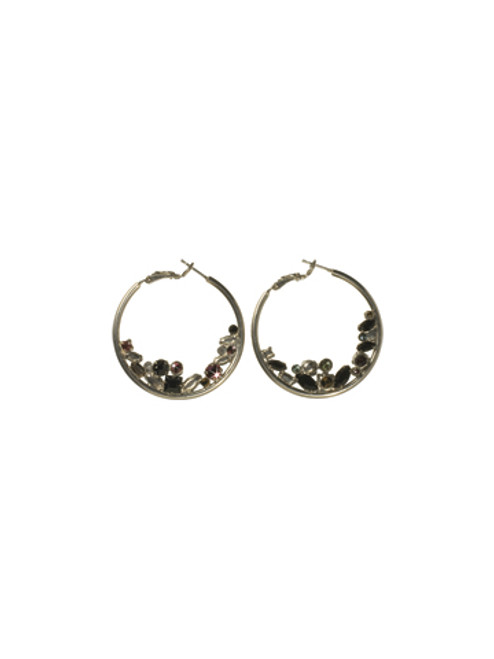 Sorrelli AFTER MIDNIGHT- Floating Crystals Hoop Earrings~ ECF45ASAFM