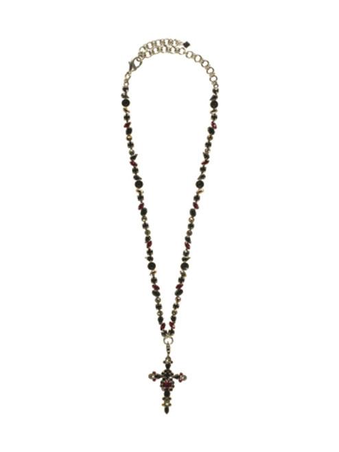 SORRELLI AFTER MIDNIGHT- Bold Crystal Cross Necklace~ NBN22ASAFM