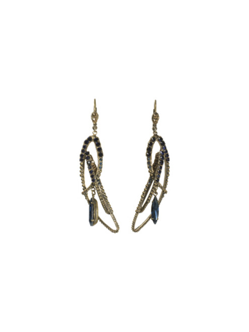 ORRELLI BLUE JEAN DREAM CRYSTAL FEATHER LONG EARRINGS- ECK30AGBJD