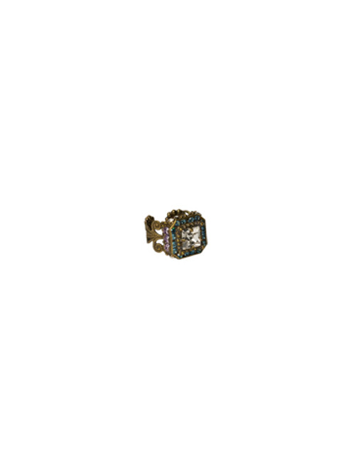 Sorrelli Sweet Dreams- Center Stage Square Crystal Ring~ RCG8AGSWD