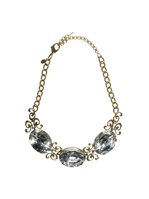 Sorrelli Sweet Dreams- Bold Scroll Necklace with Faceted Crystal Ovals~ NCA12AGSWD