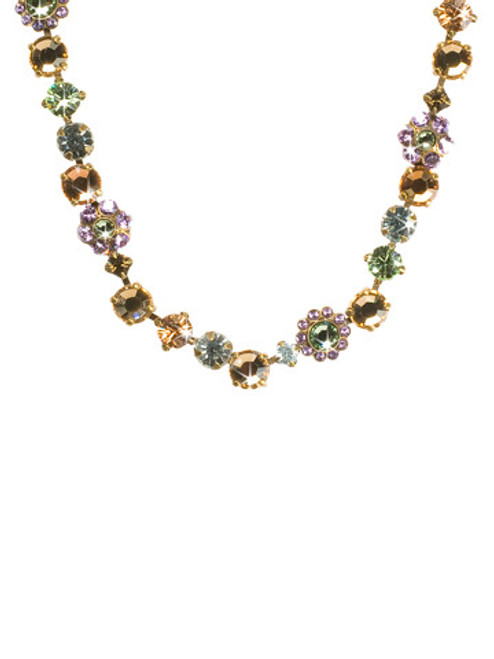Sorrelli Sweet Dreams Classic Floral Tennis Necklace~ NBE2AGSWD