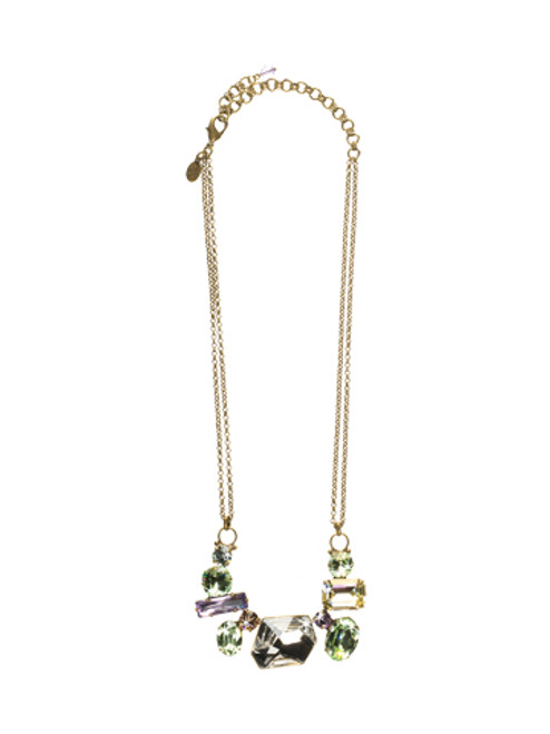 Sorrelli Sweet Dreams-Modern Facets Bold Crystal Bib Necklace~ NCF10AGSWD