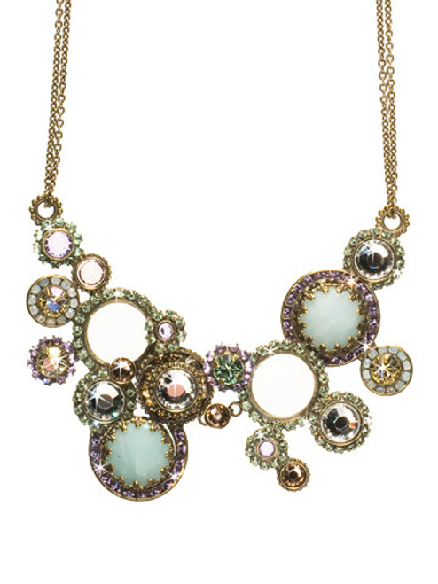 Sorrelli Sweet Dreams - Multi Circle Crystal Bib Necklace~ NCE10AGSWD